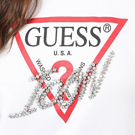 Guess - Sweat Crewneck Femme Avec Strass W01Q74-K7EX0 Blanc