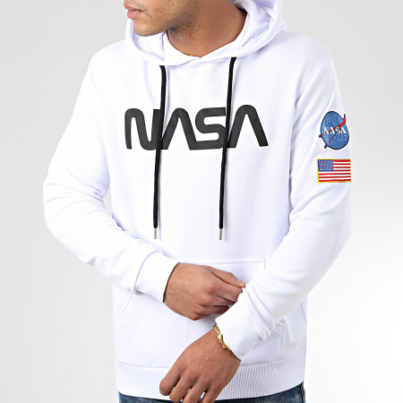 NASA - Sweat Capuche Worm Patches Blanc