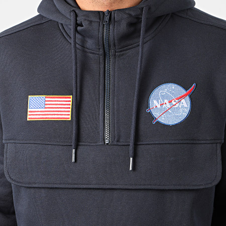 NASA - Sweat Outdoor Col Zippé Patches Bleu Marine