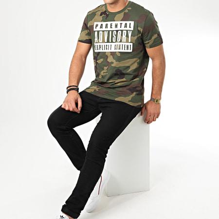 Parental Advisory - Tee Shirt Big Camouflage Vert Kaki Blanc