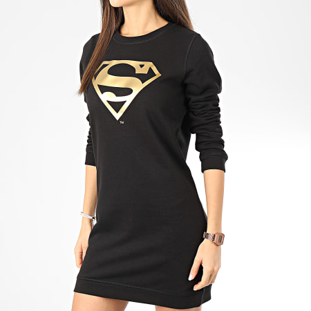 Superman - Sweat Crewneck Robe Femme Logo Noir Doré