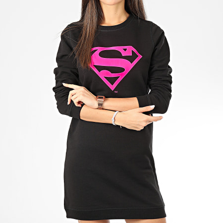 Superman - Sweat Crewneck Robe Femme Logo Noir Rose