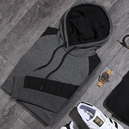 LBO - Sweat Capuche Avec Details Noir 966 Gris Anthracite