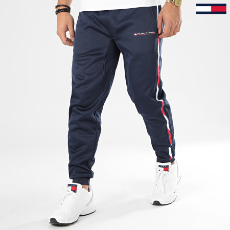 Tommy Sport - Pantalon Jogging A Bandes Tape Fleece 0324 Bleu Marine