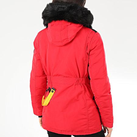 Comme Des Loups - Parka Chauffante Fourrure Femme Montreal Rouge Noir