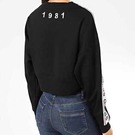 Guess - Sweat Crewneck Crop Femme A Bandes W01Q87-K8800 Noir