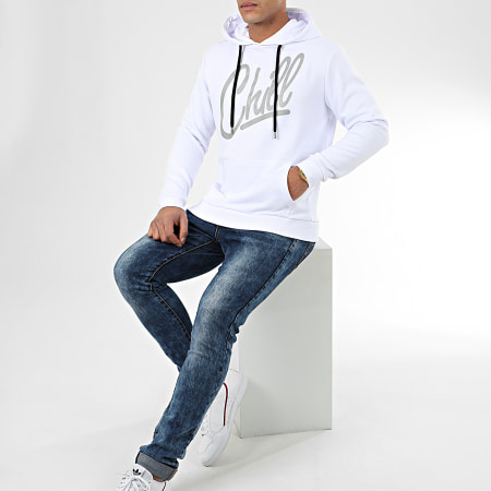 Luxury Lovers - Sweat Capuche Chill Reflective Blanc