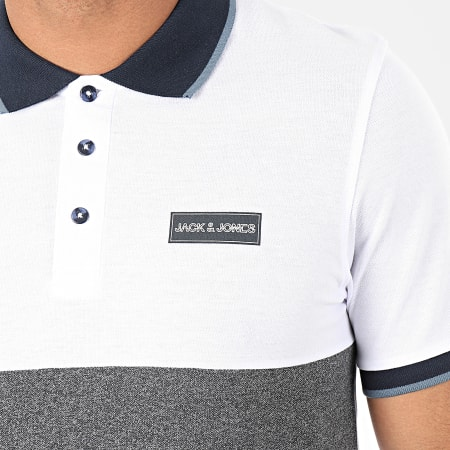 Jack And Jones - Polo Manches Courtes Zero Blanc Gris Chiné
