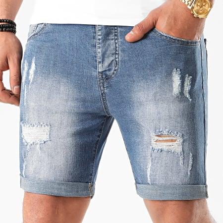 LBO - Short Jean Avec Dechirures LB054-B54 Bleu Medium