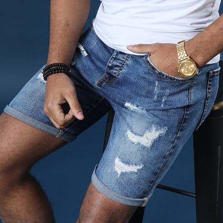 LBO - Short Jean Avec Dechirures B77005 Bleu Medium