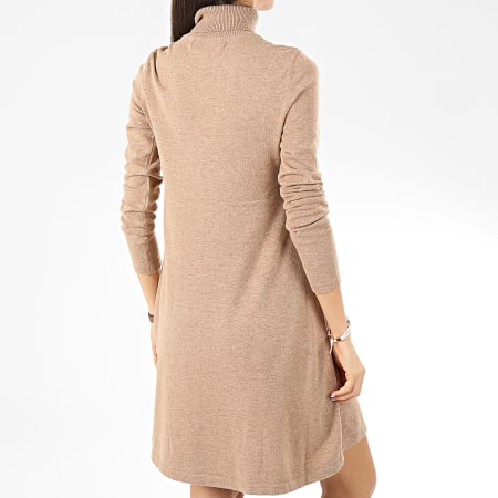 Vero Moda - Robe Pull Col Roulé Femme Appy Marron Clair Chiné