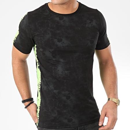Berry Denim - Tee Shirt A Bandes JAK-137 Noir Vert Fluo