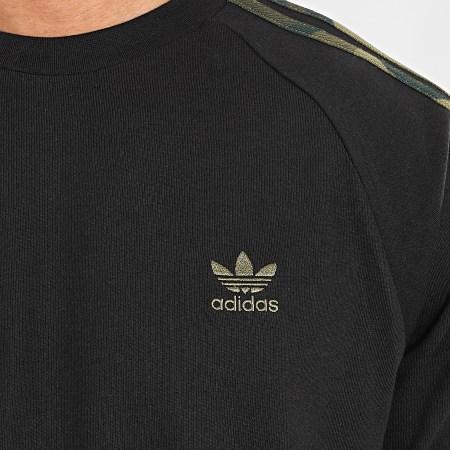 adidas - Tee Shirt Manches Longues A Bandes FM3353 Noir