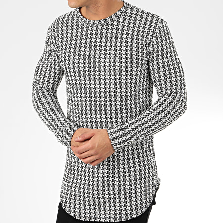 Frilivin - Tee Shirt Manches Longues Oversize 5372-1 Noir Blanc