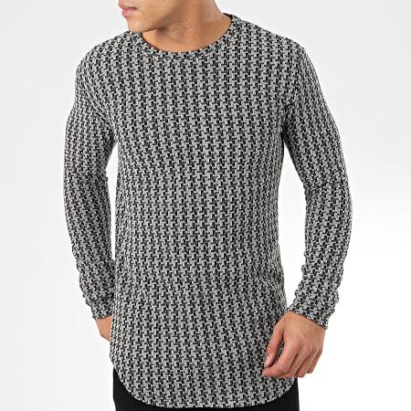 Frilivin - Tee Shirt Manches Longues Oversize 5372-1 Gris Noir