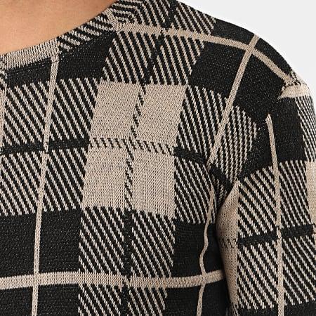 Frilivin - Tee Shirt Manches Longues A Carreaux Oversize 5374 Taupe Noir