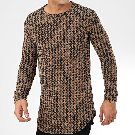 Frilivin - Tee Shirt Manches Longues Oversize 5372-1 Marron Noir
