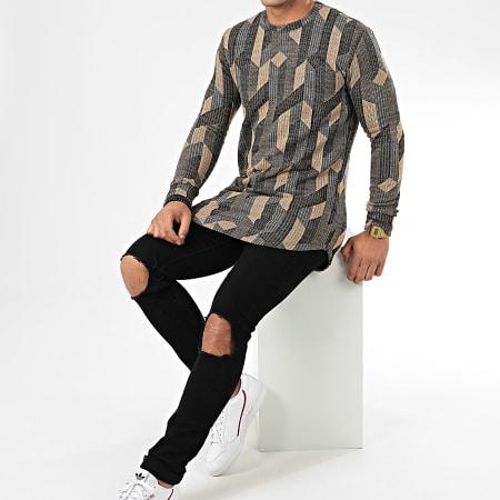 Frilivin - Tee Shirt Manches Longues Oversize 5372 Beige Noir Gris