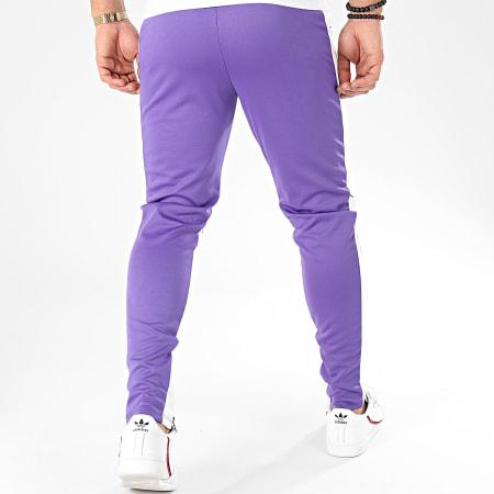 Frilivin - Pantalon A Bandes 1565 Violet Blanc