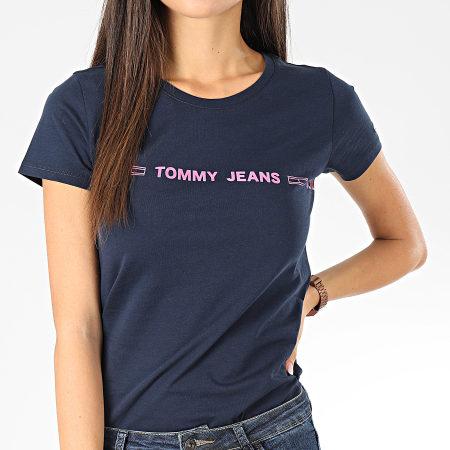Tommy Jeans - Tee Shirt Femme Linear Logo 7799 Bleu Marine Rose