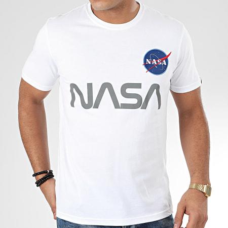 Alpha Industries - Tee Shirt NASA Reflective 178501 Blanc Réfléchissant