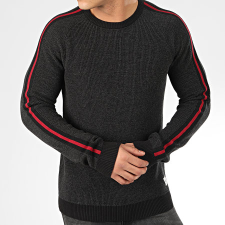 Jack And Jones - Pull A Bandes Charles Gris Anthracite Chiné