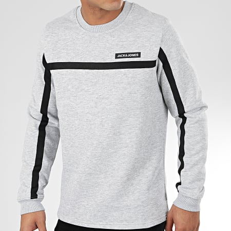 Jack And Jones - Sweat Crewneck A Bandes Super Cell Gris Chiné