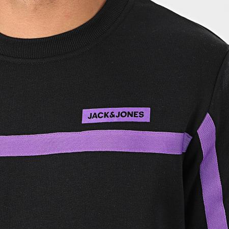 Jack And Jones - Sweat Crewneck A Bandes Super Cell Noir