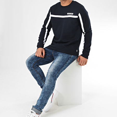Jack And Jones - Sweat Crewneck A Bandes Super Cell Bleu Marine