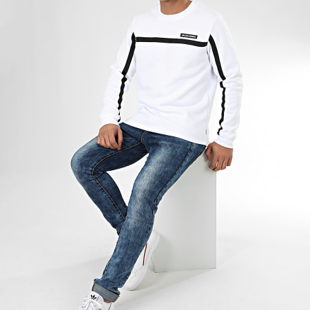 Jack And Jones - Sweat Crewneck A Bandes Super Cell Blanc