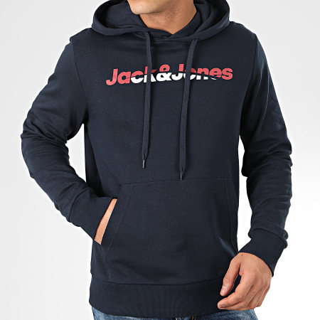 Jack And Jones - Sweat Capuche Manthol Bleu Marine