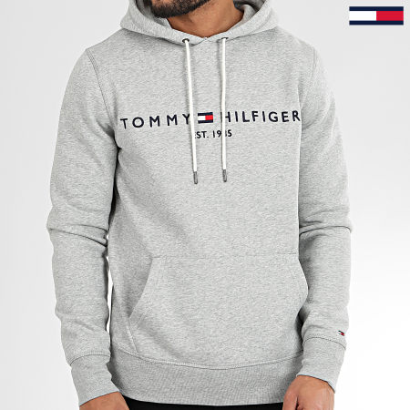 Tommy Hilfiger - Sweat Capuche Core Tommy Logo 0752 Bleu Gris Chiné