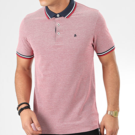 Jack And Jones - Polo Manches Courtes Paulos Blanc Rouge Chiné