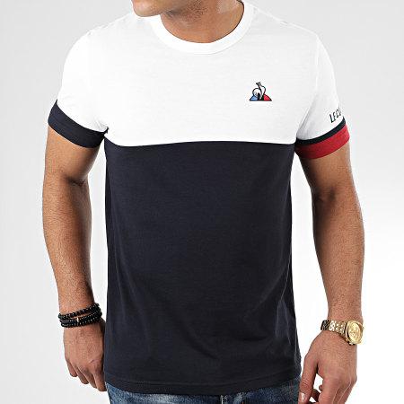 Le Coq Sportif - Tee Shirt Tricolore N1 2010438 Blanc Bleu Marine
