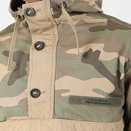 Superdry - Veste Col Zippé Capuche Camouflage Rookie Overhead M5000128A Vert Kaki Beige
