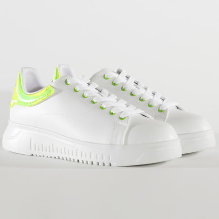 Emporio Armani - Baskets X4X264-XM228 Optic White Green Fluo