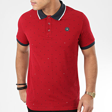 Jack And Jones - Polo Manches Courtes All Over Print Bordeaux Bleu Marine