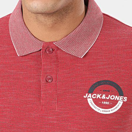Jack And Jones - Polo Manches Courtes Strong Bordeaux Chiné