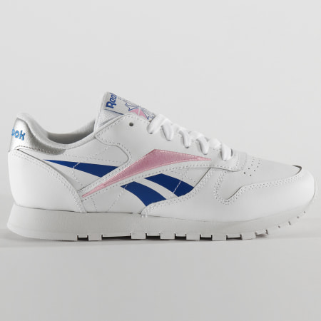Reebok - Baskets Femme Classic Leather EH1864 White Humble Blue Jasmine Pink