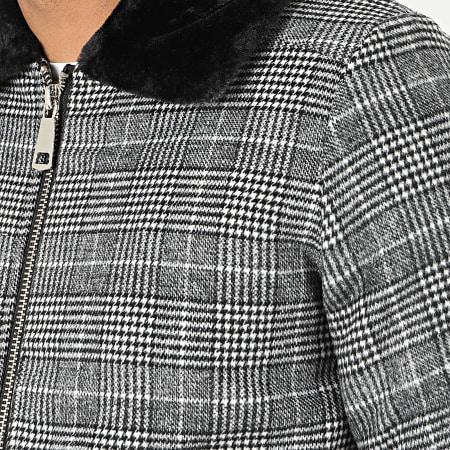 John H - Veste Zippée Col Fourrure A Carreaux W008 Gris Noir