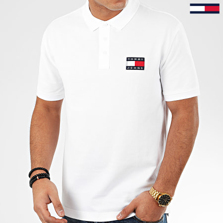 Tommy Jeans - Polo Manches Courtes Tommy Badge 7456 Blanc