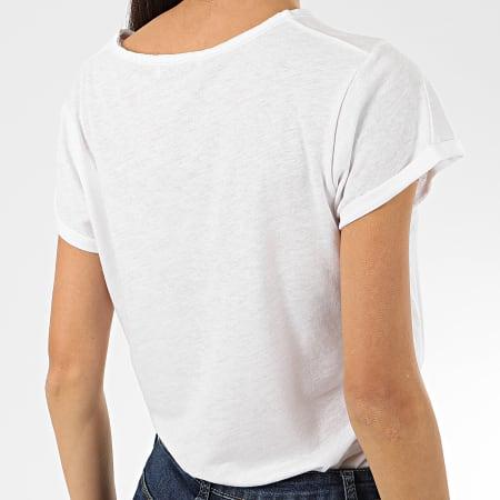 Le Temps Des Cerises - Tee Shirt Femme Basitrame Blanc Chiné Doré