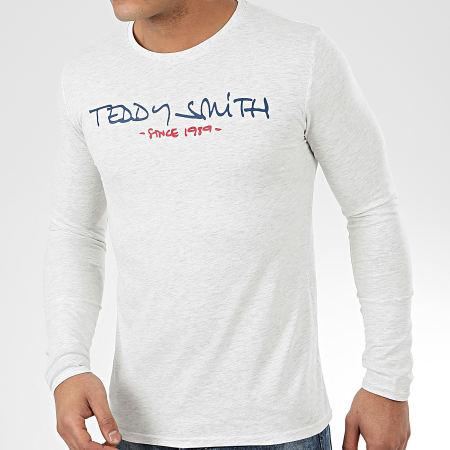 Teddy Smith - Tee Shirt Manches Longues Class Basic Gris Clair Chiné