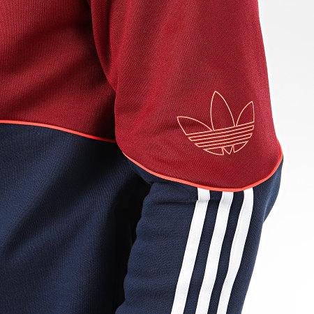 adidas Sweat Zippé Capuche Outline FZ FM3870 Bordeaux Bleu