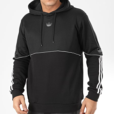 adidas Sweat Capuche A Bandes Outline FM3886 Noir Blanc