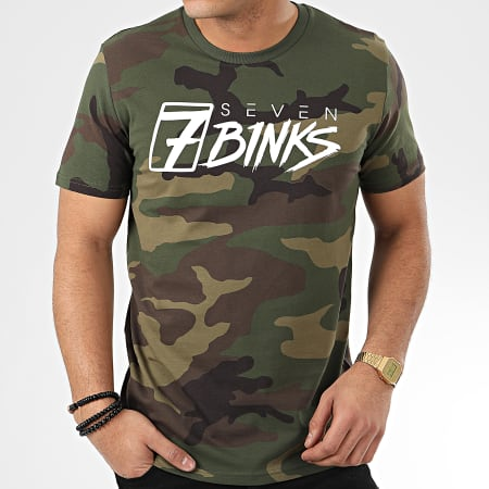 7 Binks - Tee Shirt Vignette Camouflage Vert Kaki