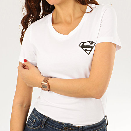 Superman - Tee Shirt Femme Back Logo Blanc