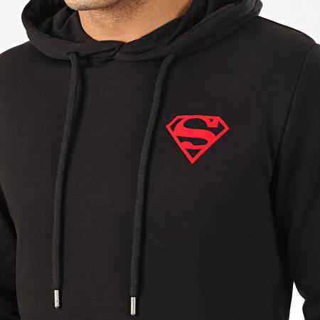 Superman - Sweat Capuche Logo Felt Noir Rouge