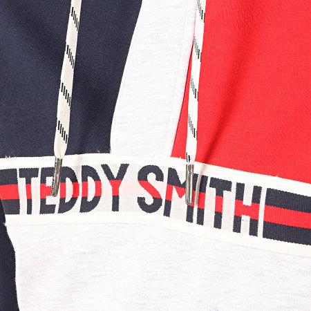 Teddy Smith - Sweat Capuche Col Zippé Marco Bleu Marine Rouge Gris Chiné