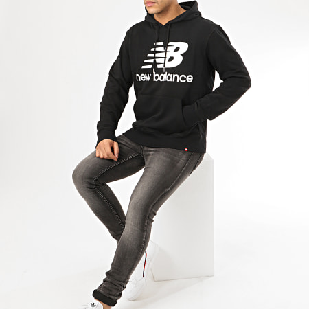 New Balance - Sweat Capuche Essential Stacked Logo MT91547 Noir